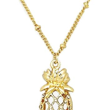 Tropical Crystal Pineapple Necklace, Gold
