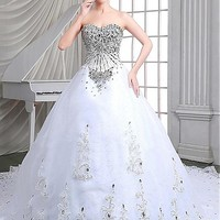 [246.99] Elegant Tulle Sweetheart Neckline Ball Gown Wedding Dresses With Beadings - dressilyme.com