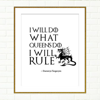Game of Thrones Typography, Art Print, Quotation, Inspirational Wall Art, Poster, Dragon, Daenerys Targaryen, Khaleesi, Queen, Wall Decor,