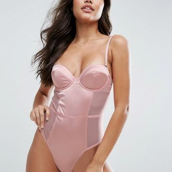 ASOS Amber Molded Satin & Mesh Body with Detachable Straps at asos.com