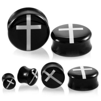 ac ICIKO2Q 2PCS Acrylic Ear Plugs Tunnels Earring Gauges White Across Hollow Double Flare Ear Tunnels Expanders Plugs Piercing Ring Jewelry