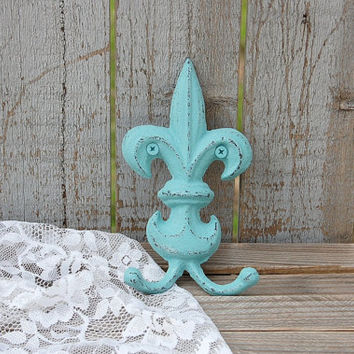 Shabby Chic Hook, Fleur de Lis, Cast Iron, Blue, Green, Hand Painted, Double Hook, Metal, Distressed, French Decor, Coat, Purse, Towel