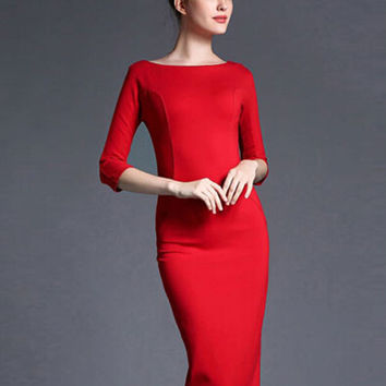 Red 3/4 Sleeve V-Back Wrap Slit Midi Bodycon Dress