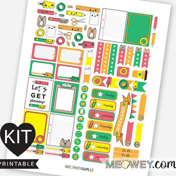 Paper Rules Weekly Kit Planner Printables Kawaii Stickers Erin Condren Cute Pens Paper Stationary Washi Fun Digital Download Package Kits