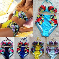High Waist Flower Push Up Sexy Bikini Set Swimwears Swimsuit Bathing Suit