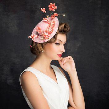 New Lady's Flower Lace Headdress,Pink Hairpin Banquet/Wedding Hat,Free shipping