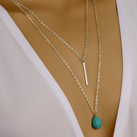 Oval Turquoise Pendant Double-layered Necklace