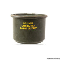 1950s Metal Army Industries Container, Vintage Lidded Can