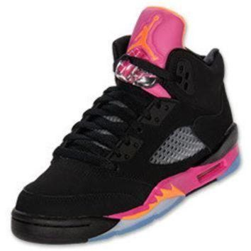 Girls' Grade School Air Jordan Retro V Basketball Shoes