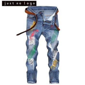 Vintage Mens Colorful Painted Ripped Destroyed Slim Fit Skinny Jeans Blue Distressed Denim Pants Teenager Fashion Trousers