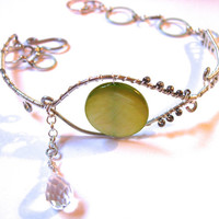 Crying Eye Armlet, Upper Arm Bracelet, Adjustable, Glass Eye with Briolette Teardrop, Green and Silver