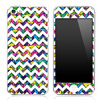 Neon Sprinkles under White Chevron Pattern Skin for the iPhone 3, 4/4s or 5