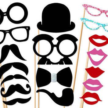 Wedding Party Photo Booth Props - 18 Piece Set On a Stick - Photobooth Prop