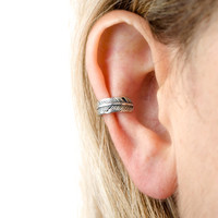 Feather Ear Cuff Earring Sterling Silver Ear Wrap Earrings Boho Jewelry - ECU007 SS