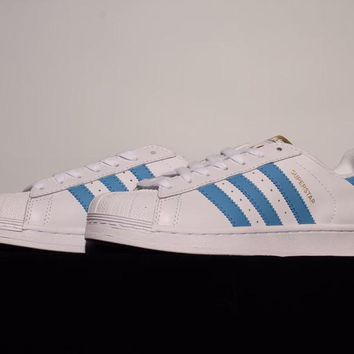Adidas Superstar Foundation White / Blue Leather Trainers Sneaker