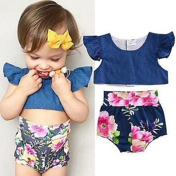 Infant Baby Girls denim crop top + shorts floral print Bottom baby girl clothing sets summer kid little girl Clothes
