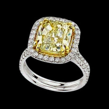 3.5 carat fancy yellow diamonds ring solitaire with accent