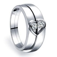 0.10 Carat Inexpensive Heart Shape Couples Matching Wedding Band Rings on Silver