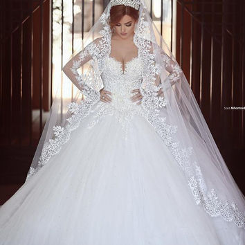 Long Sleeves Arab Ball Gown Wedding Dresses 2016 Beaded Sheer Back Sexy Long Train  Bridal Gowns With Long Veil vestido de noiva