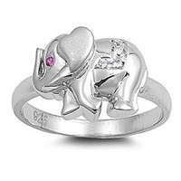 Sterling Silver Red Cz Elephant Ring (Size 4 - 9)