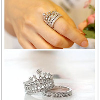 White Gold Plated Crystal Princess Double Crown Ring Women Jewelry