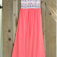 Coral Indian Summer Plus Size Maxi Dress