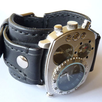 Steampunk Leather Cuff Watch Handmade, Bracelet Watch, Dual Time Watch, Black Leather Watch