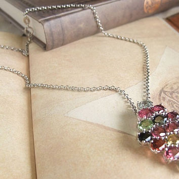 925 Silver Tourmaline Gemstone Colored Necklace Gift for Weddings