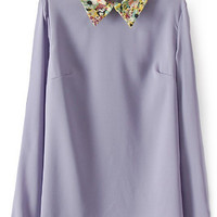 ROMWE | Floral Print Long Sleeve Purple Blouse, The Latest Street Fashion