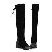 Shoes  Boots Thigh High Boots Over The Knee Boots Platform Thick High Heels Boot Ladies Lace Up Shoes Size 34-39