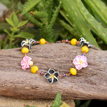 Pink Plumeria Jewelry from Hawaii - Hawaiian Plumeria Anklet - Tropical Flower Ankle Bracelet - Hawaiian Jewelry - Oahu, Hawaii Beach Anklet