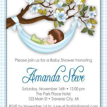 Hammock Baby Shower Invitations - Boy