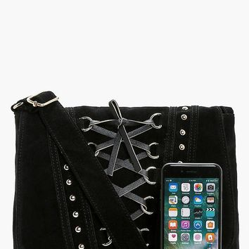 Lucy Corset And Stud Cross Body Bag | Boohoo