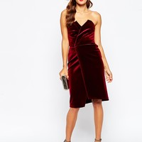 ASOS Velvet Asymmetric Bandeau Midi Dress