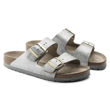 Birkenstock Arizona Suede Leather Washed Metallic Blue Silver Sandals