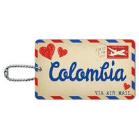 Air Mail Postcard Love for Colombia ID Card Luggage Tag