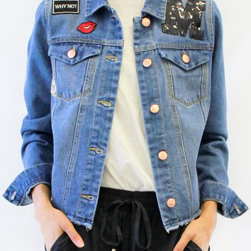 Embroidered Patched Denim Jacket with Raw Hem
