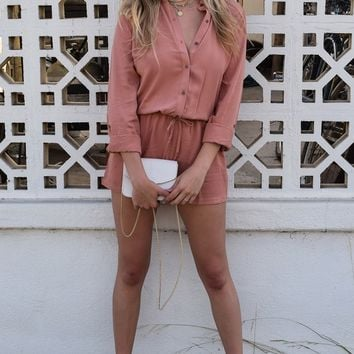 Button-Front Shirt Romper