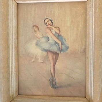 Vintage Ballerina Framed Litho Print, Girls Dancing in Blue and White Tutus, Beige Wood Frame