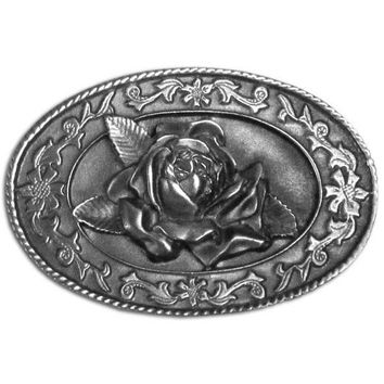 Sports Accessories - Small Rose Antiqued Belt Buckle