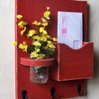 Mail Organzier - Mail and Key Holder - Key Hooks - Jar Vase - Organizer - Painted Distressed Wood