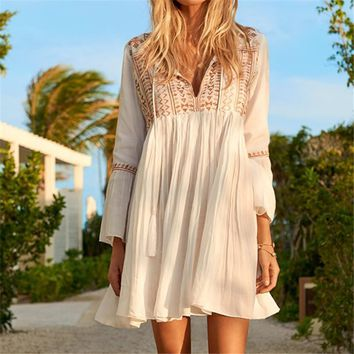 Deep Sexy V Neck Self Patchwork Long Sleeve Boho Midi Dress Cotton Tassel Loose Summer Beach Tunic Dress N510 designer clothes