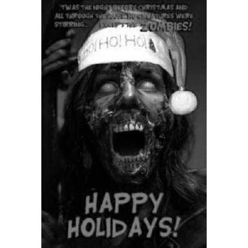 Zombie Christmas Greetings poster Metal Sign Wall Art 8in x 12in Black and White