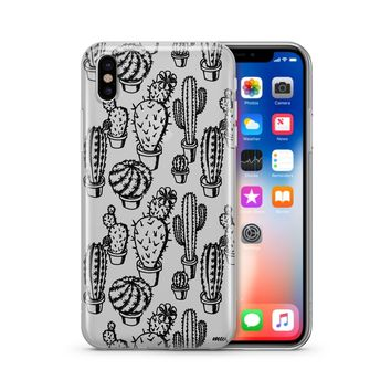 Monochrome Cactus - Clear Case Cover