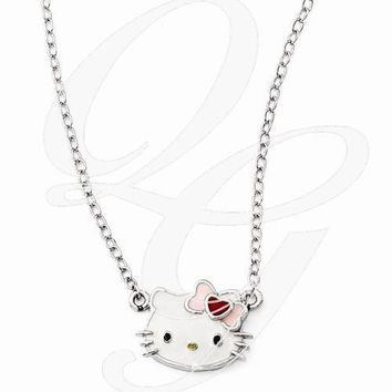 Hello Kitty Sterling Silver Enamel Face Necklace