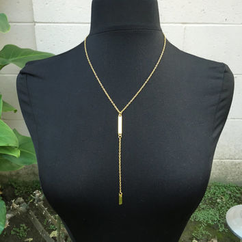 Gold Dainty Bar Delicate Necklace Chain