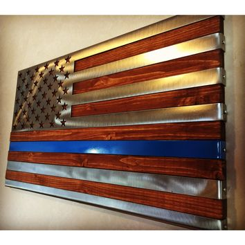"Thin Blue Line, 3 dimensional, Hand oiled pine, wrapped in a folded ""Polished US Flag"" / 2 footer / Metal Art"