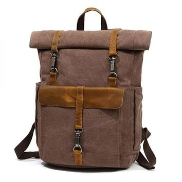 """YUPINXUAN Europe Fashion Canvas Leather Backpacks 14"""" Laptop Daypack for Traveling Teenager Back Pack Student Computer Rucksacks"""