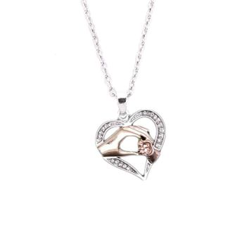 hand in hand family heart shaped pendant necklace