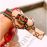 GUCCI Fashion New More Letter Bow-Knot Personality Hair Clip Accessories Beige